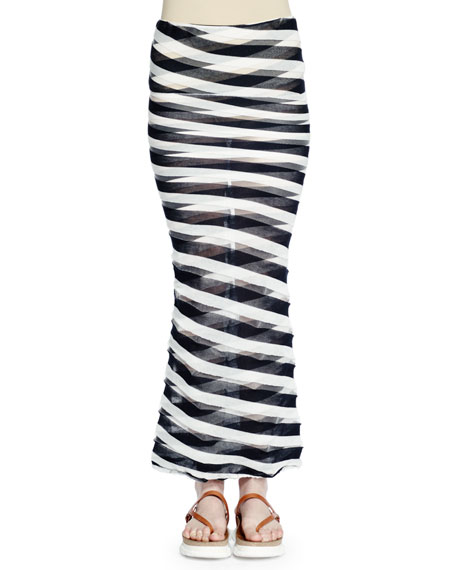 Stella McCartney Transparent-Striped Maxi Skirt, Navy/Lily/Transparent