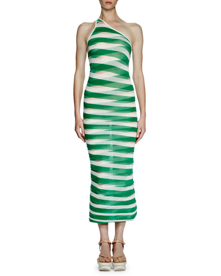 Stella McCartney One-Shoulder Transparent-Striped Long Dress, Lily/Green