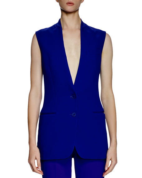 Stella McCartney Collarless Two-Button Vest, Blue Bird
