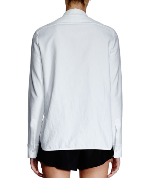 Long-Sleeve Mesh-Inset Blouse, White