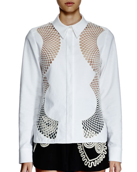 Stella McCartney Zip-Front Sheer Bomber Jacket, Long-Sleeve