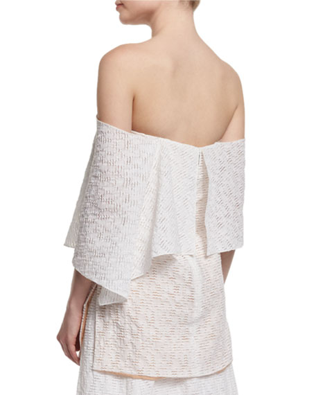 Off-The-Shoulder Fold-Over Tunic Blouse, Porcelain