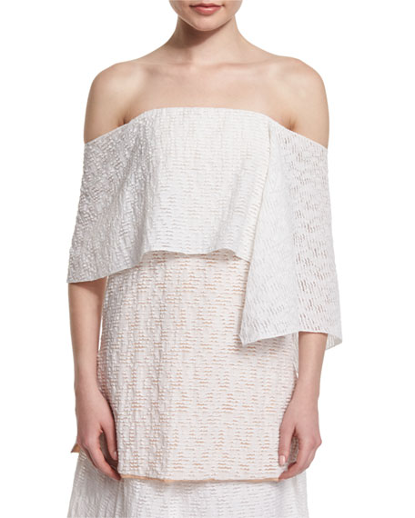 Prabal Gurung Off-The-Shoulder Fold-Over Tunic Blouse &