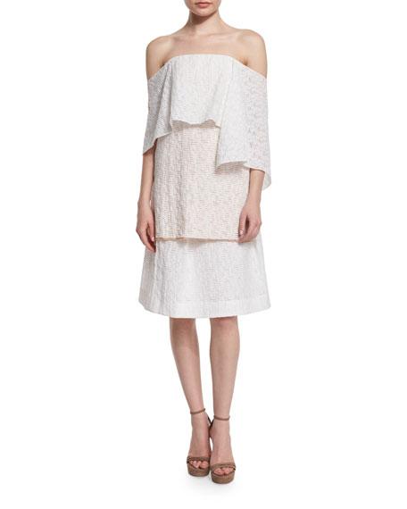Pleated-Front Flippy Skirt, Porcelain