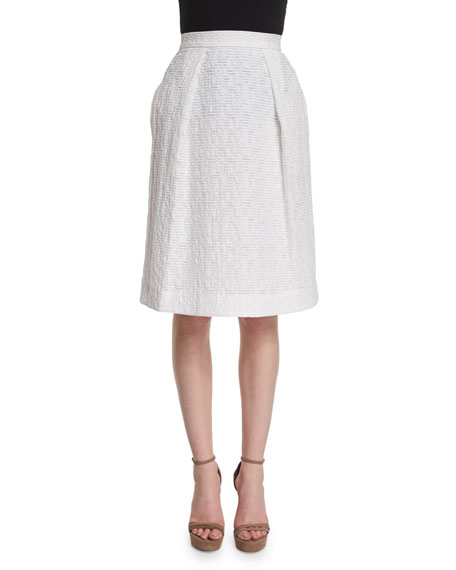 Prabal Gurung Pleated-Front Flippy Skirt, Porcelain