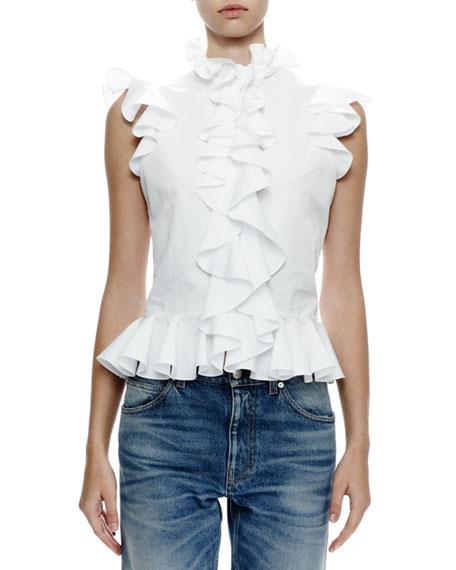 Alexander McQueen Cap-Sleeve Ruffle-Front Blouse, White