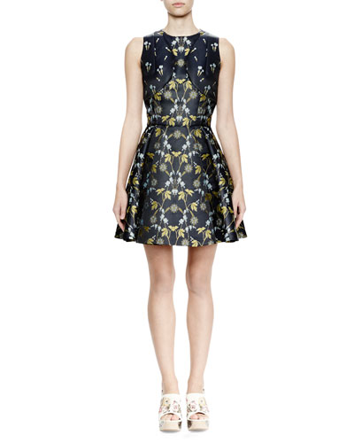 Sleeveless Fit-&-Flare Floral-Print Dress, Navy