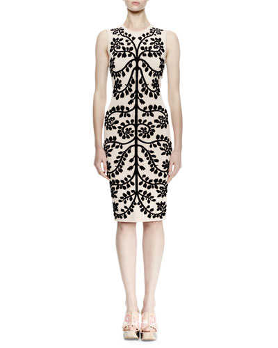 Sleeveless Leaf-Print Pencil Dress, Cameo/Black