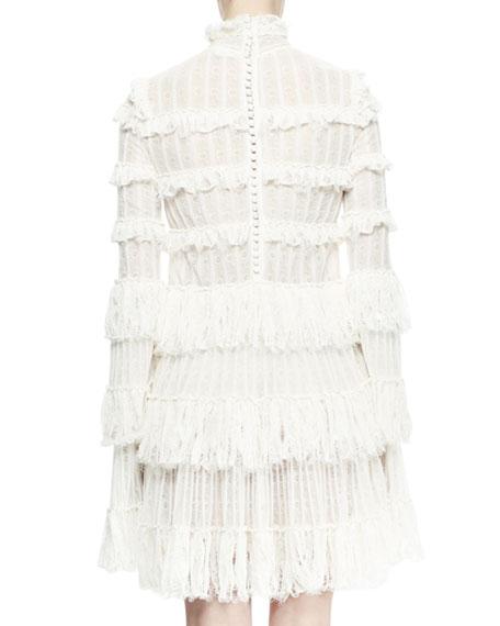 Long-Sleeve Tiered-Lace Ruffle Dress, Ivory