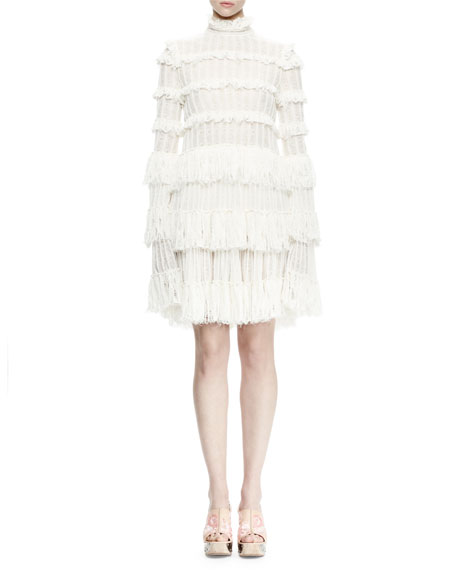 Alexander McQueen Long-Sleeve Tiered-Lace Ruffle Dress, Ivory