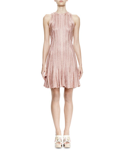 Sleeveless Fit-&-Flare Dress, Rose Gold