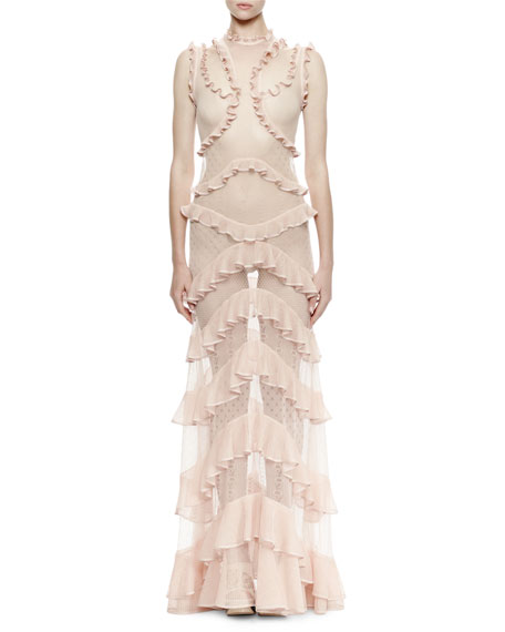 Alexander McQueen Sleeveless Tiered-Ruffle & Mixed-Lace Dress, Cameo