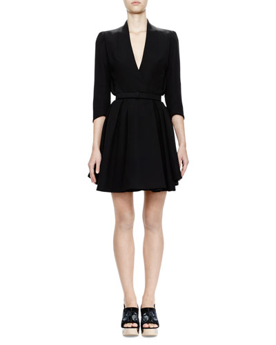 3/4-Sleeve Belted Coat Dress, Black