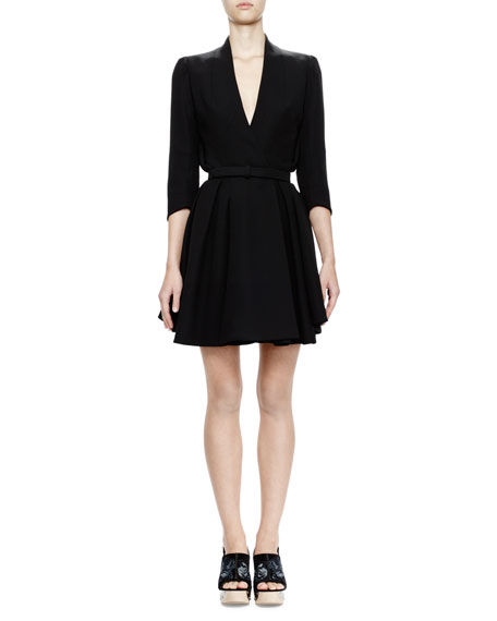 Alexander McQueen 3/4-Sleeve Belted Coat Dress, Black