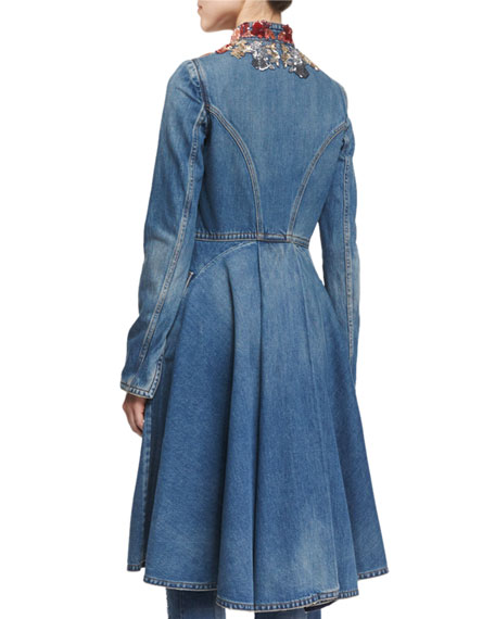 Embroidered Cutaway Denim Coat, Medium Vintage Wash