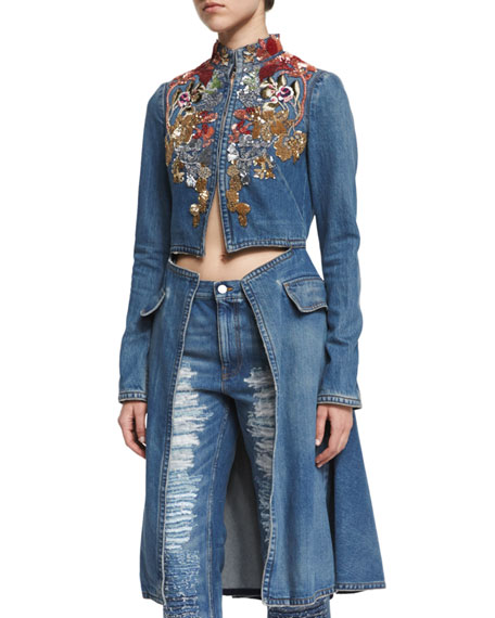 Alexander McQueen Embroidered Cutaway Denim Coat, Medium Vintage