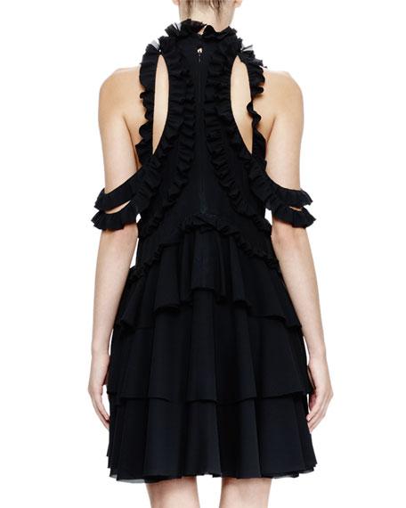 Halter-Neck Ruffled Dress, Black
