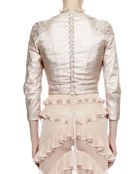 3/4-Sleeve Metallic-Leather Jacket, Rose/Silver