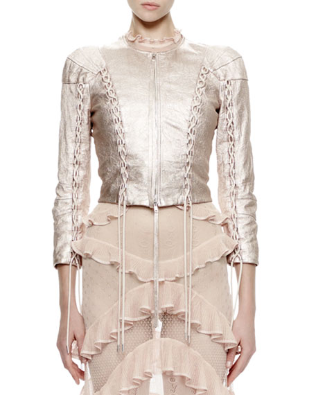 Alexander McQueen 3/4-Sleeve Metallic-Leather Jacket, Rose/Silver