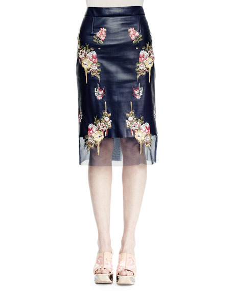 Alexander McQueen Floral-Embroidered Leather Skirt, Ink/Multi