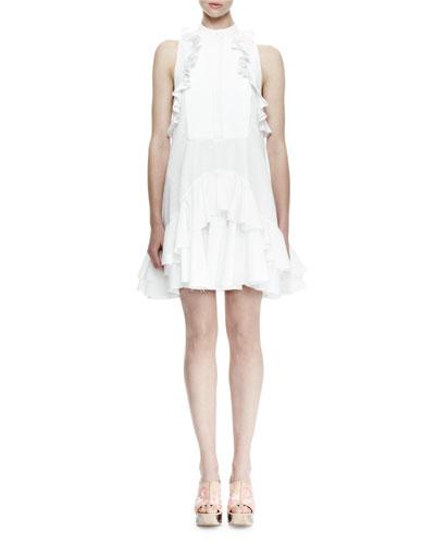 Sleeveless Pleated-Bib Ruffle Dress, White