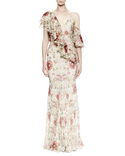 One-Shoulder Medieval-Floral Print Gown, Multi Colors