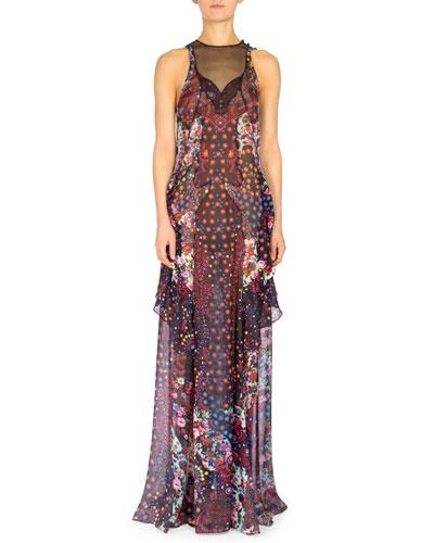 Macarthur Sleeveless Tiered Column Dress, Red/Multi