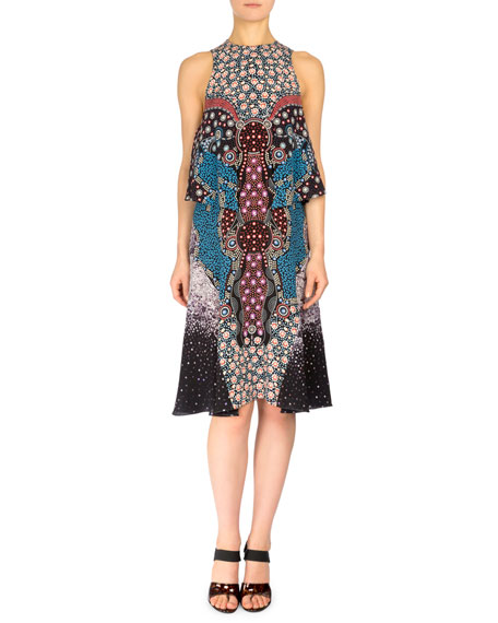 Mary Katrantzou Spectra Side-Tiered A-Line Dress, Black/Blue