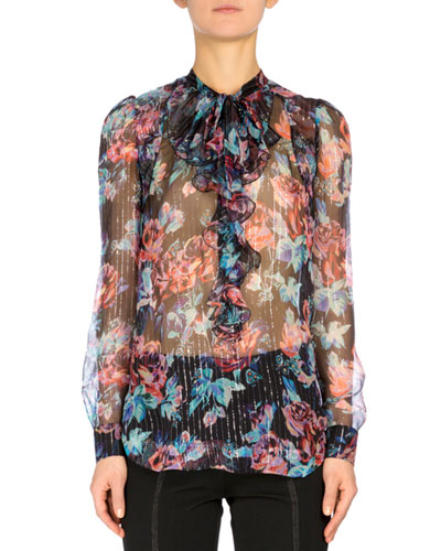 Kennewick Metallic-Striped Floral-Print Blouse, Black Rose