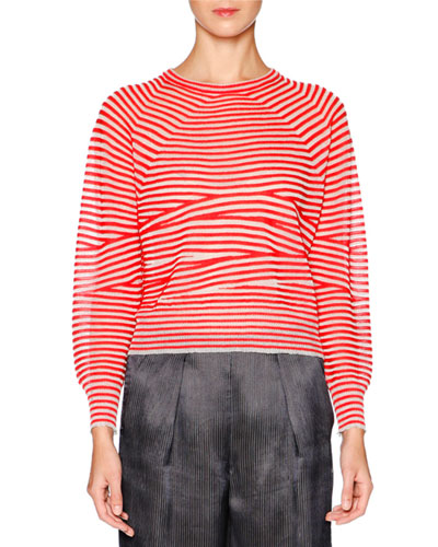 Long-Sleeve Striped Top, Scarlet/White
