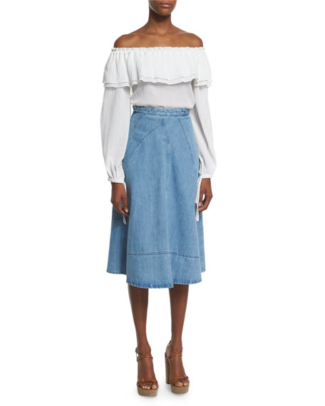Michael Kors Collection Seamed Denim Flare Skirt, Sky