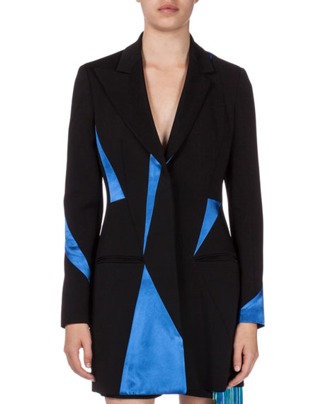 Christopher Kane Contrast-Inset Tailored Jacket, Black/Electric Blue