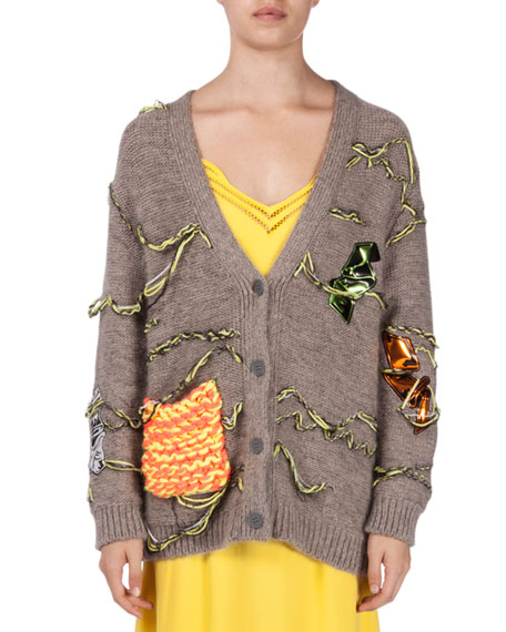 Christopher Kane Button-Front Oversized Cardigan, Putty