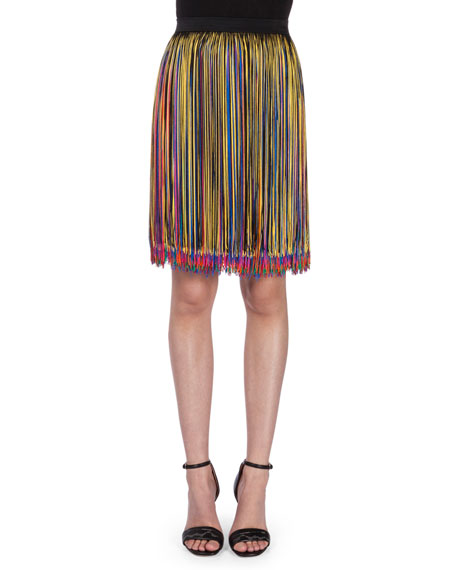 Christopher Kane High-Waist Multi-Fringe Skirt, Black/Multi