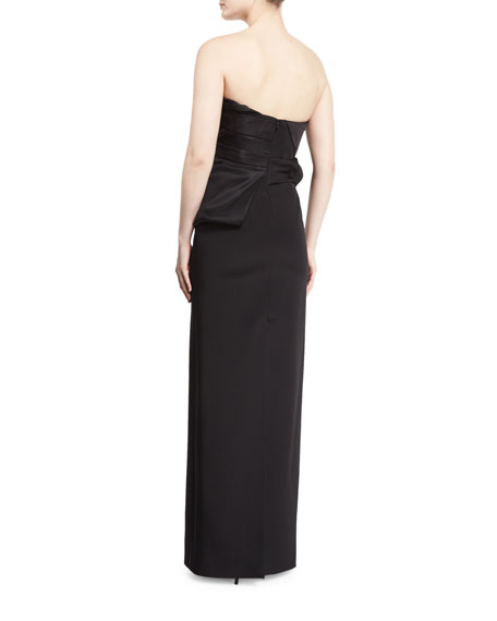 Strapless Pleated-Bodice Peplum Gown, Black