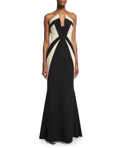 Strapless Two-Tone Mermaid Gown, Black/Ecru