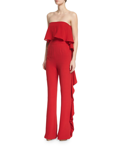 Strapless Ruffled Crepe Jumpsuit, Lipstick