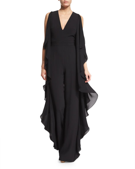 Elie Saab Sleeveless Flowy Wide-Leg Jumpsuit, Black