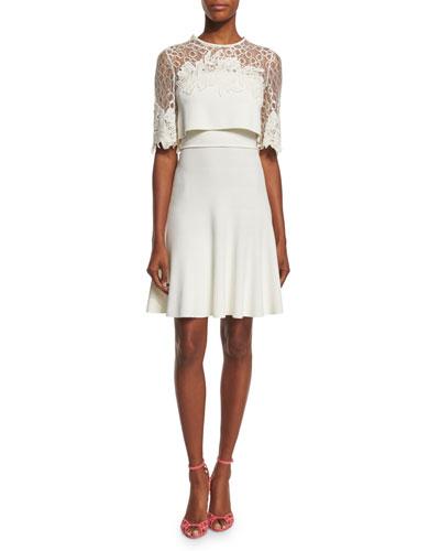 Lace-Inset Popover Dress, Gardenia