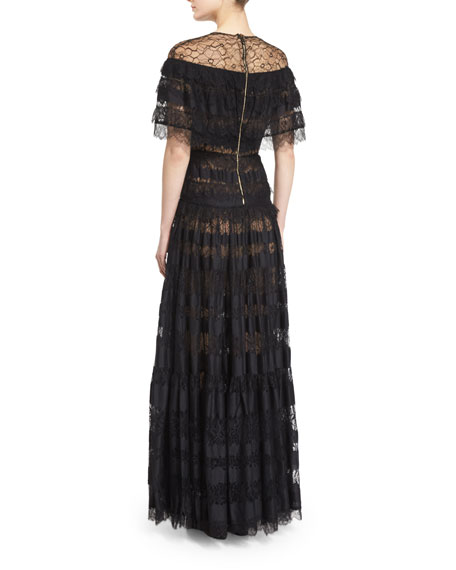 Illusion Off-The-Shoulder Tiered Gown, Black