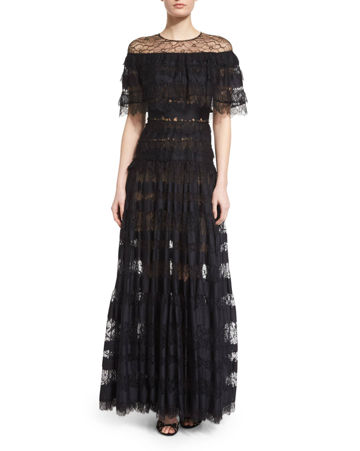 48a2360f8c Elie Saab Illusion Off-The-Shoulder Tiered Gown