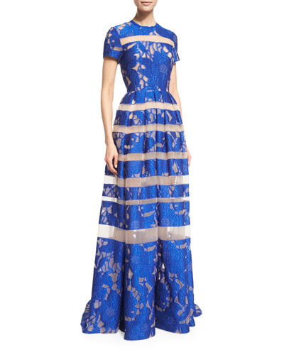 Short-Sleeve Floral-Embroidered Gown, Imperial