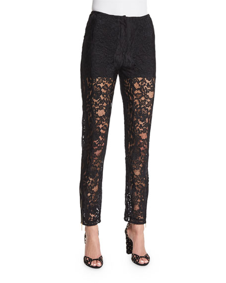 Elie Saab Slim-Leg Lace Ankle Pants, Black