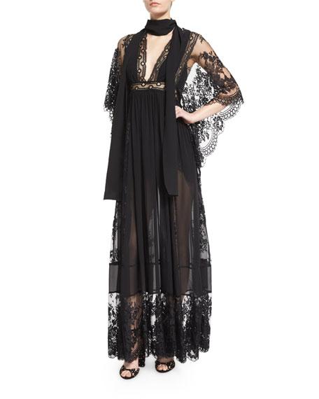 Elie Saab Bell-Sleeve Lace & Georgette Gown, Black