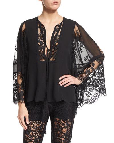 Bell-Sleeve Lace & Georgette Top, Black