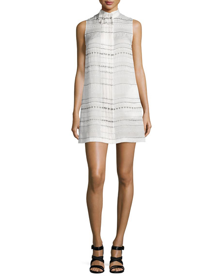 Creatures of the Wind Printed-Stripes Pleated-Collar Dress,
