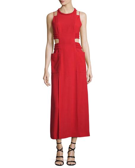 Fendi Sable Maxi Dress w/Cutouts, Caipiroska Red | Neiman Marcus