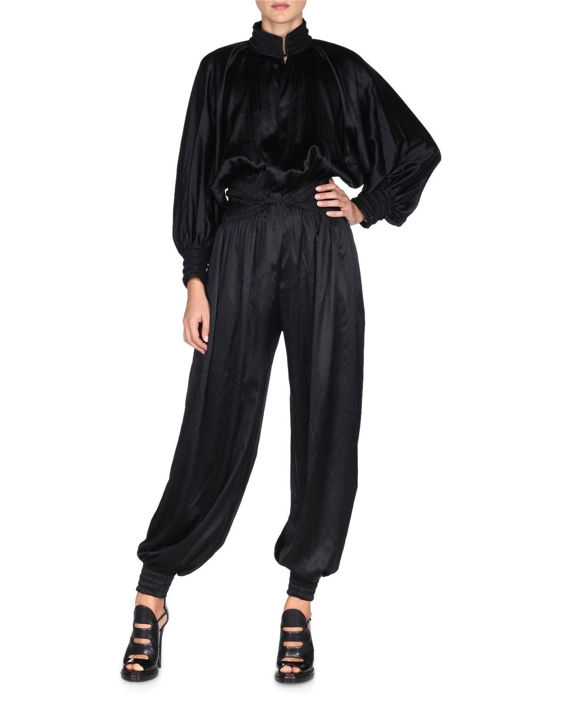 8fbed46991fb Fendi Long-Sleeve Braided-Trim Jumpsuit