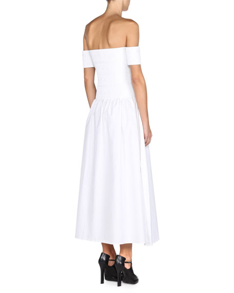 Off-The-Shoulder Zip-Front Dress, White