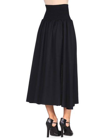 High-Waist Zip-Front Skirt, Black
